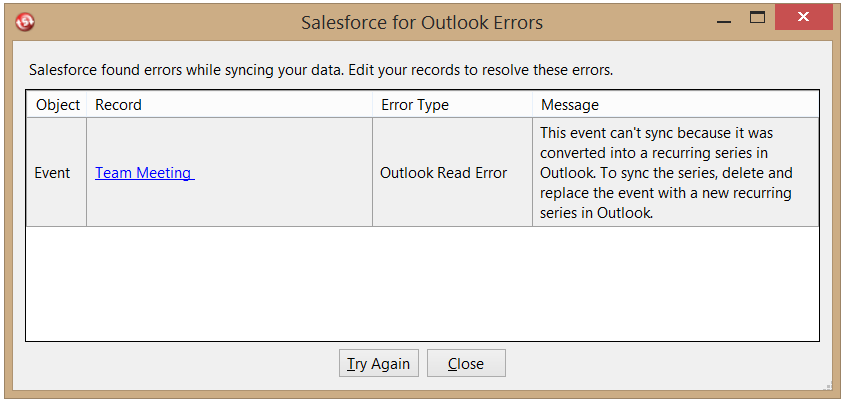 Salesforce for Outlook most common sync error messages